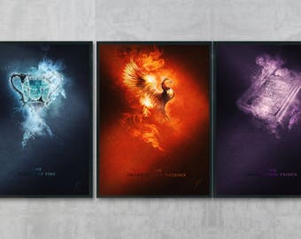 Harry Potter Art Bundle - Harry Potter Poster Print - Harry Potter Wall Art - Gryffindor Art - Harry Potter Decor - Hogwarts Drawing 2