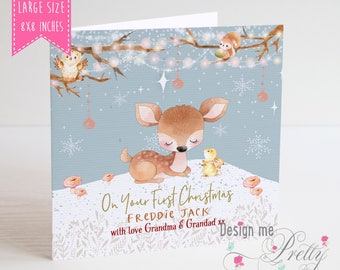 Large Baby Boys First Christmas Card - personalised 8x8 inches XL