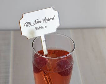 Mirrored Acrylic Drink Stirrers - Nameplate   Seating Card   Parties   Events   Holidays   Wedding   Engagement   Shower   Decor   Laser Cut