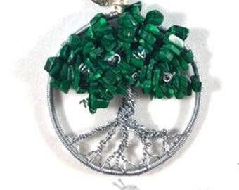 Tree of Life Necklace - Green Aventurine Gemstone Chips - Gift - Customizable