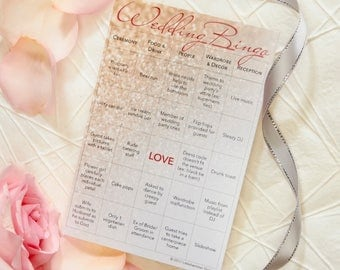 Wedding Bingo: 75-Card Printed Set with Gold Stickers for Marking Squares (Bride/Groom)