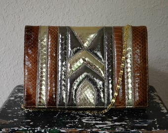 Genuine Snakeskin Mello-Nary Originals New York Clutch