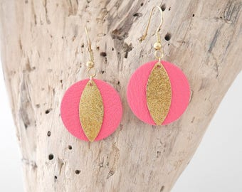 Elegant earrings in bright pink leather and brass gold glittery stardust (BO150rosevif)
