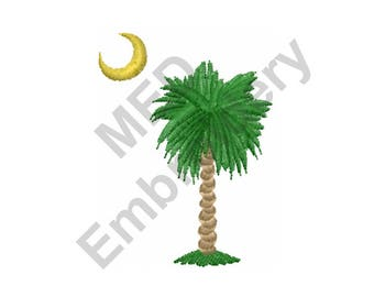Palm Tree Moon - Machine Embroidery Design