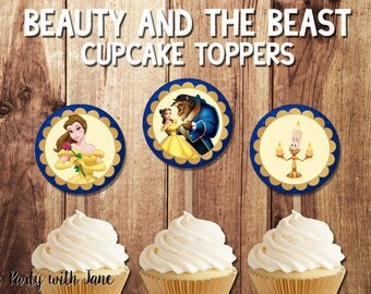 Beauty and the BeastCupcake Topper, Toppers, Belle, Princess, Party Decor, Decoration, Printable, Instant Download,