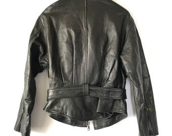 80s 90s Leather jacket, Perfect Vintage Leather Motorcycle Jacket, Size Small