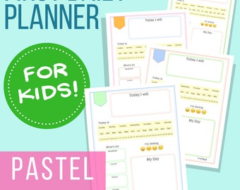 Daily Planner for Kids: Pastels, Letter Size Printable Planner for Young Children