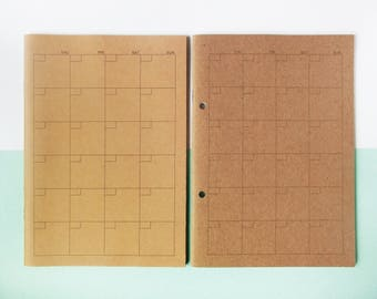 Muji A5 Kraft Monthly Planner (With or Without Punch Holes) - Note, Notebook, Schedule