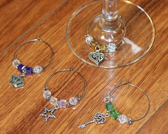 Charm and Bead Wine Glass Charms