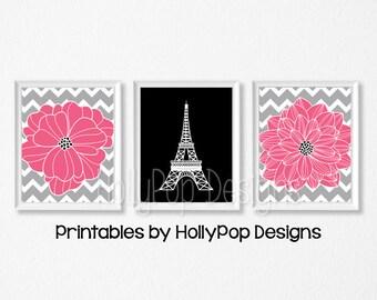 PRINTABLE girls room decor Paris art prints Eiffel Tower art Pink black wall art Girls room art Hot pink wall prints Downloadable art #1059