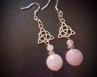 ROSE QUARTZ sphere bead & Triquetra hook earrings. celtic trinity knot/silver/gemstone/love/healing/pagan/wicca/crystal/protection/viking