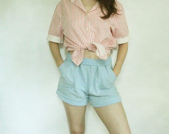 50s Striped Button Up S M