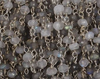50% off 5 Feet Beautiful Labradorite & White Rainbow Moonstone Beaded Chain 3-3.5mm Rosary Chain, 925 Silver Plated Wire Wrapped Chain CH154