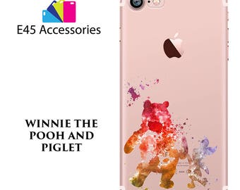 WINNIE The POOH and Piglet Disney Watercolour Hard Case for iPhone 5S 5 SE, iPhone 6S 6 or iPhone 7