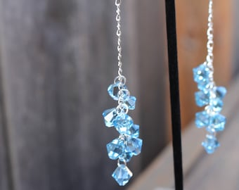 Aquamarine Crystal Cluster Earrings