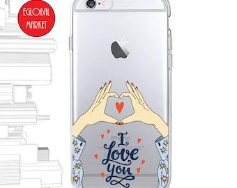 iPhone 8 Case iPhone X iPhone 7 6 5 SE Plus Samsung S8 S7 S6 Edge Soft Clear Transparent Rubber TPU Phone Case: I Love You