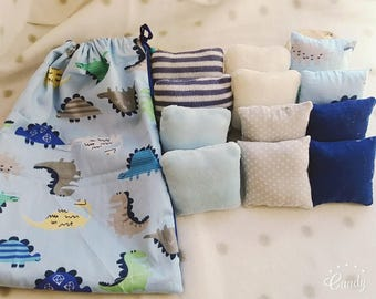 Set of 12 pillows sensory and tactile and mystery - montessori and waldorf inspired - blue dinosaur backpack