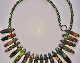 Green (Unakite) Bead Necklace