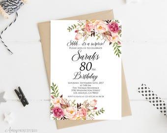 Surprise 80th Birthday Invitation, Women Birthday Invitation, Any Age Women Birthday Invite, PERSONALIZED, Digital file, #W01