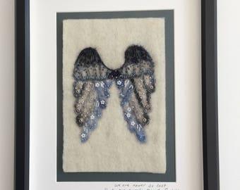 Angel wings Felt Art, Textile art