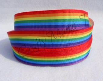 "Rainbow 7/8"" Grosgrain Ribbon by the yard. LGBTQ  Choose between 3/5/10 yards."