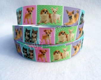 "Chihuahua Puppies Multi Color 7/8"" Grosgrain Ribbon by the yard. Choose between 3/5/10 yards."