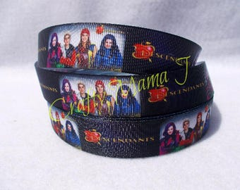 "Disney Descendants Movie 7/8"" Grosgrain Ribbonby the yard Choose 3/5/10 yards. American musical fantasy television film"