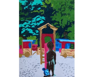 ACEO Original Painting: Boy in Park in Miniature