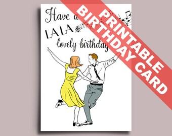 LaLa Land Printable Birthday Card Editable PDF, Ryan Gosling, Emma Stone, can be Personalised Personalized La La