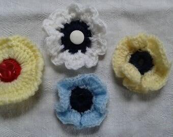 lot 4 sewing crochet flowers