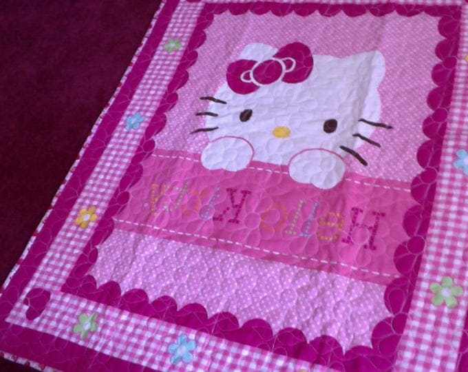 Hello Kitty Child's Pink Throw Quilt, Throw Quilt, Lap Quilt, Hello Kitty Wall Hanging