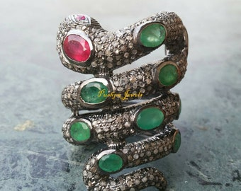 Boho style 3.80ctw rose cut diamonds emerald Ruby sterling silver Snake Serpent Statement Ring - 2651707p