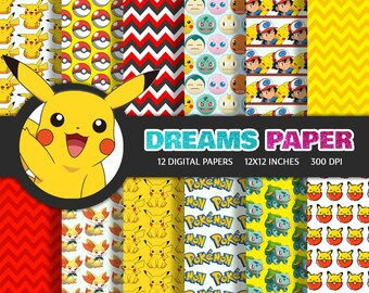 Pokemon - Digital Paper + Free Clipart