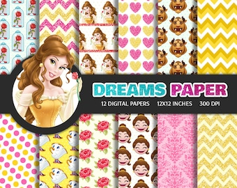 The Beauty and the Beast - Digital Paper + Free Clipart
