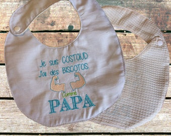 "Boy bib size 0/6 month embroidered ""I have the biceps"""