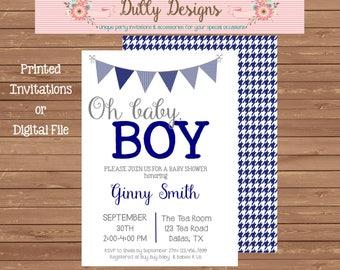 Oh Baby Boy Shower Invitation, Oh Baby Boy Shower Invite, Baby Boy Shower Invitation, Blue Baby Shower Invite, Blue Baby Shower Invite
