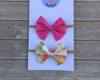 Set of 2 Bows - Coral Bouquet & Pink Swirls - HANDMADE!!