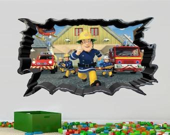 Fireman Sam Cracked Wall 3D Effect Art Wall Sticker Mural Decal 829
