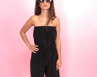 Black terry cloth strapless romper M