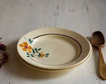Duo of two mismatched from the 1950's French floral plates