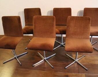 Set of 6 brown velvet 1970s swivel chairs