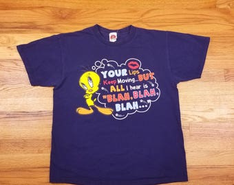 Vintage 90s Tweety Bird Looney Tunes Additude Shirt Size large L