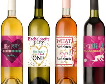 Wine Bottle Labels for Bachelorette Party | Girls Night Out - Set of 4 Premium Quality Stickers - Party Games, Supplies & Party Favors
