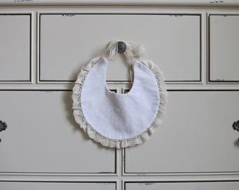 Beige/White on White Reversible Bib,  Fashion Bib, Drool Bib, Baby Bib, Baby Drool Bib, Baby Shower Gift