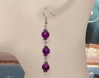 Purple|Glass Bead|Hematite Gemstones|Silver|Dangle Drop Earrings|Gift|Handmade