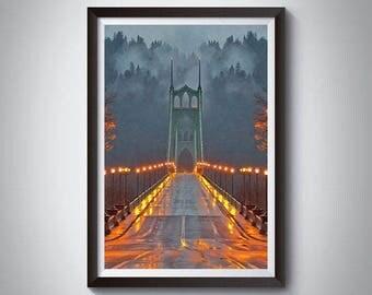 Portland Oregon Art Poster Print, Portland St Johns Bridge Poster