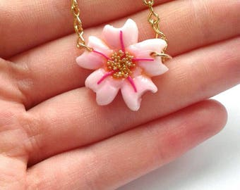 Polymer clay cherry blossom bracelet