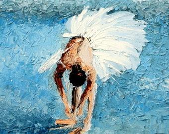 Original ballet oil painting/ballerina art/impasto/palette knife painting/Dance studio decor.