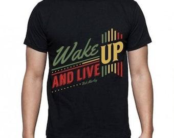 Mens Wake Up & Live - Black T-shirt