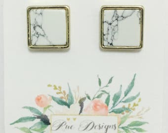 Square marble and gold plated stud earrings